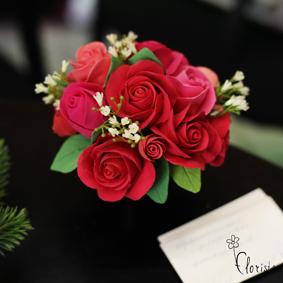 Новокузнецк, Арт-базар, украшения, японская глина деко, композиция с красными розами