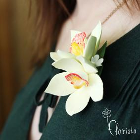 Новокузнецк, Арт-базар, украшения, японская глина деко, брошь с орхидеями