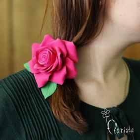 Новокузнецк, Арт-базар, украшения, японская глина деко, резиночка с большой красной розой