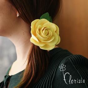 Новокузнецк, Арт-базар, украшения, японская глина деко, резиночка с большой желтой розой
