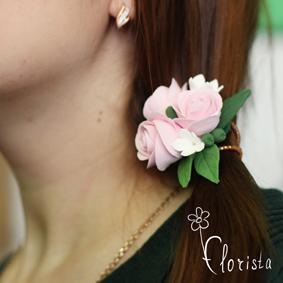 Новокузнецк, Арт-базар, украшения, японская глина деко, резиночка с розами