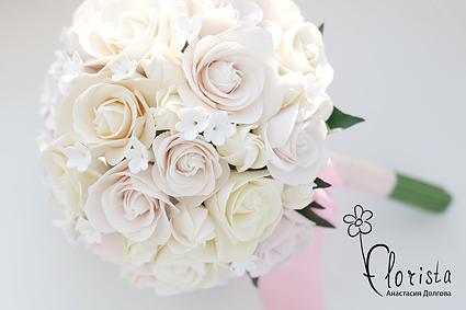 Свадебный букет из викторианских роз - учебное задание второго курса лепки из японской глины. Для этого букета лепиться вручную от 40 викторианских роз и